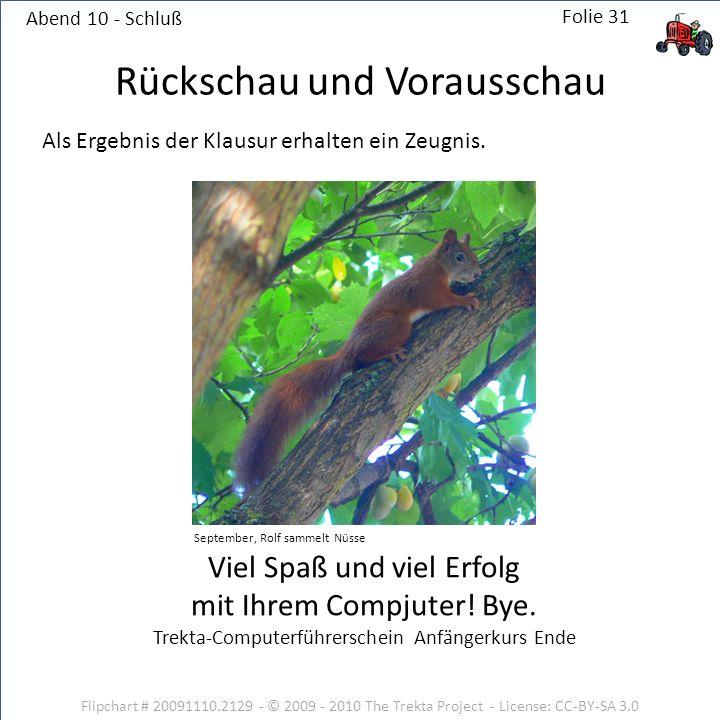 Abend 10 - Schluß Flipchart # 20091110.2129 - © 2009 - 2010 The Trekta Project - License: CC-BY-SA 3.0 Viel Spaß und viel Erfolg mit Ihrem Compjuter!