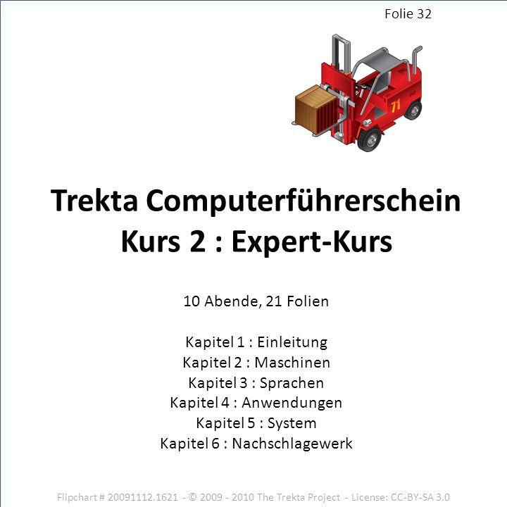 Flipchart # 20091112.1621 - © 2009 - 2010 The Trekta Project - License: CC-BY-SA 3.0 10 Abende, 21 Folien Kapitel 1 : Einleitung Kapitel 2 : Maschinen