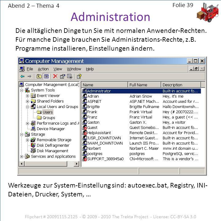 Abend 2 – Thema 4 Flipchart # 20091115.2125 - © 2009 - 2010 The Trekta Project - License: CC-BY-SA 3.0 Die alltäglichen Dinge tun Sie mit normalen Anwender-Rechten.