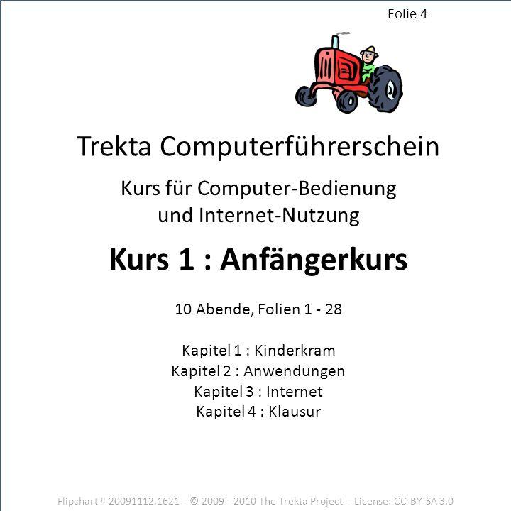 Flipchart # 20091112.1621 - © 2009 - 2010 The Trekta Project - License: CC-BY-SA 3.0 Kurs für Computer-Bedienung und Internet-Nutzung 10 Abende, Folie