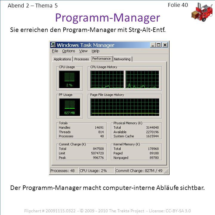 Abend 2 – Thema 5 Flipchart # 20091115.0322 - © 2009 - 2010 The Trekta Project - License: CC-BY-SA 3.0 Sie erreichen den Program-Manager mit Strg-Alt-
