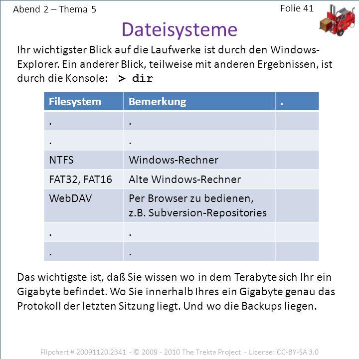 Abend 2 – Thema 5 Flipchart # 20091120.2341 - © 2009 - 2010 The Trekta Project - License: CC-BY-SA 3.0 Ihr wichtigster Blick auf die Laufwerke ist durch den Windows- Explorer.