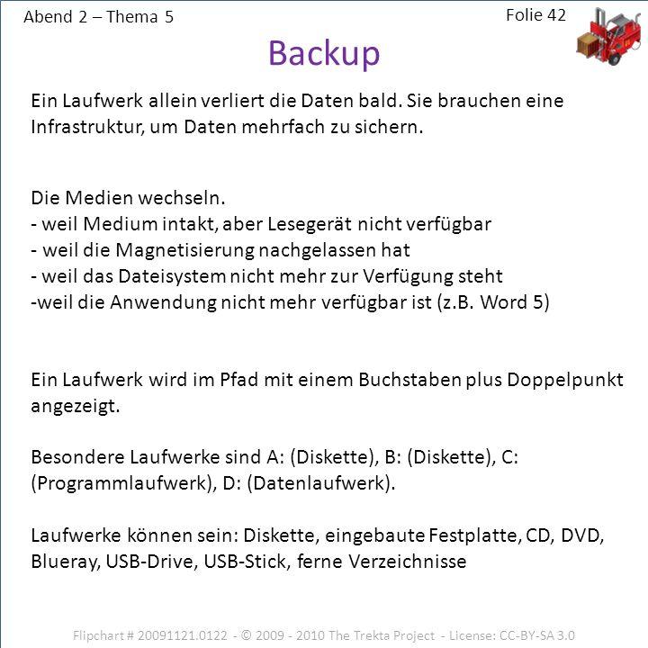 Abend 2 – Thema 5 Flipchart # 20091121.0122 - © 2009 - 2010 The Trekta Project - License: CC-BY-SA 3.0 Ein Laufwerk allein verliert die Daten bald. Si