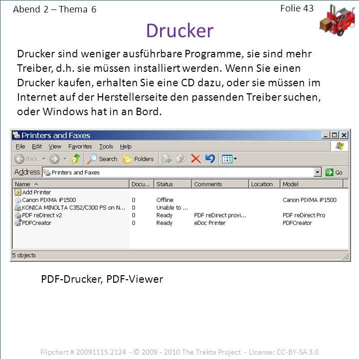 Abend 2 – Thema 6 Flipchart # 20091115.2124 - © 2009 - 2010 The Trekta Project - License: CC-BY-SA 3.0 Drucker sind weniger ausführbare Programme, sie sind mehr Treiber, d.h.