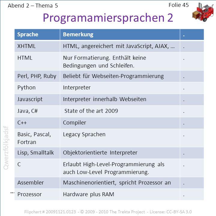 Abend 2 – Thema 5 Flipchart # 20091121.0123 - © 2009 - 2010 The Trekta Project - License: CC-BY-SA 3.0 … Folie 45 Programamiersprachen 2 SpracheBemerk