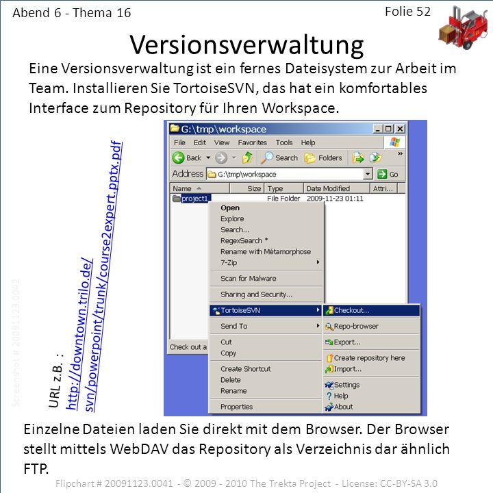 Abend 6 - Thema 16 Flipchart # 20091123.0041 - © 2009 - 2010 The Trekta Project - License: CC-BY-SA 3.0 Folie 52 Eine Versionsverwaltung ist ein fernes Dateisystem zur Arbeit im Team.