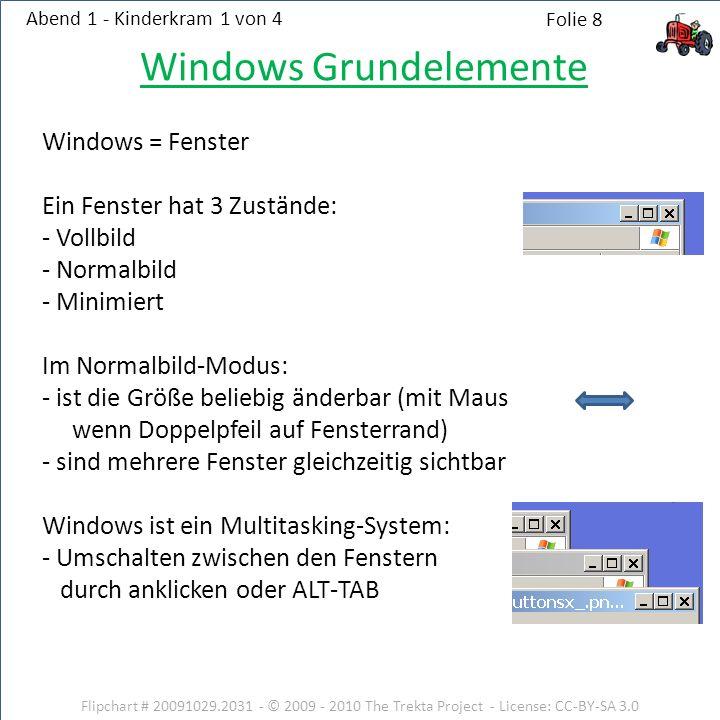 Windows Grundelemente Windows = Fenster Ein Fenster hat 3 Zustände: - Vollbild - Normalbild - Minimiert Im Normalbild-Modus: - ist die Größe beliebig änderbar (mit Maus wenn Doppelpfeil auf Fensterrand) - sind mehrere Fenster gleichzeitig sichtbar Windows ist ein Multitasking-System: - Umschalten zwischen den Fenstern durch anklicken oder ALT-TAB Flipchart # 20091029.2031 - © 2009 - 2010 The Trekta Project - License: CC-BY-SA 3.0 Abend 1 - Kinderkram 1 von 4 Folie 8