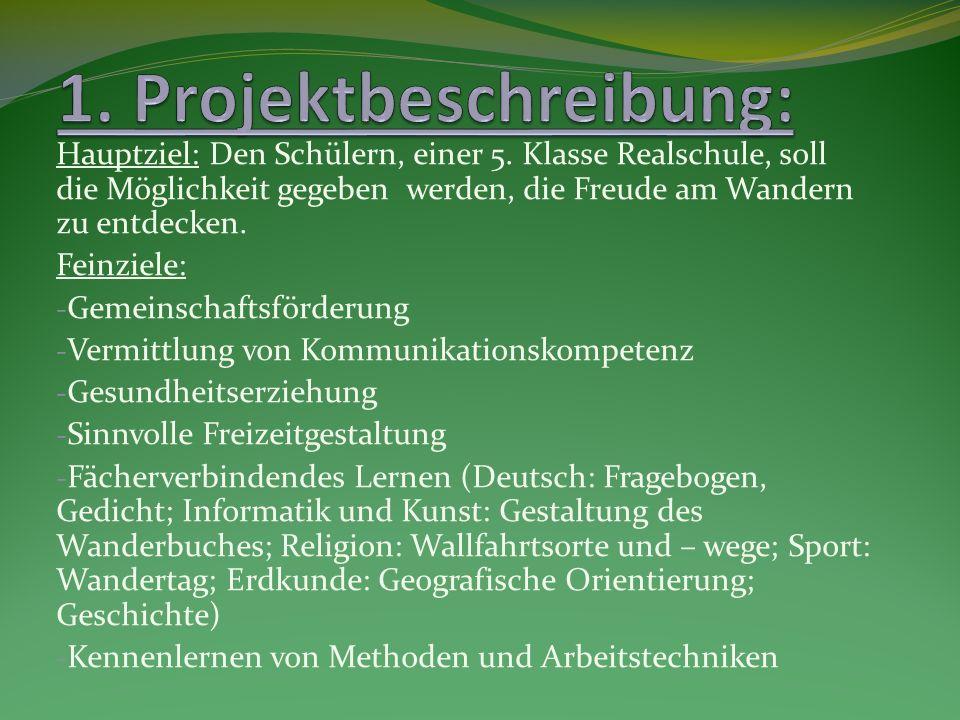 - Zeitraum: Drei Tage (ohne Wandertag) - Vorstellung des Projekts Kriterien für das Wanderbuch - Jeder Schüler wählt zwei Wanderorte Bayerns, mit denen er sich näher befasst und zu denen er Informationen sammelt und zusammenstellt, aus - Festgelegte Kategorien für die Buchseiten: - Mindestens eine per Computer gestaltete Seite - Wanderort bzw.