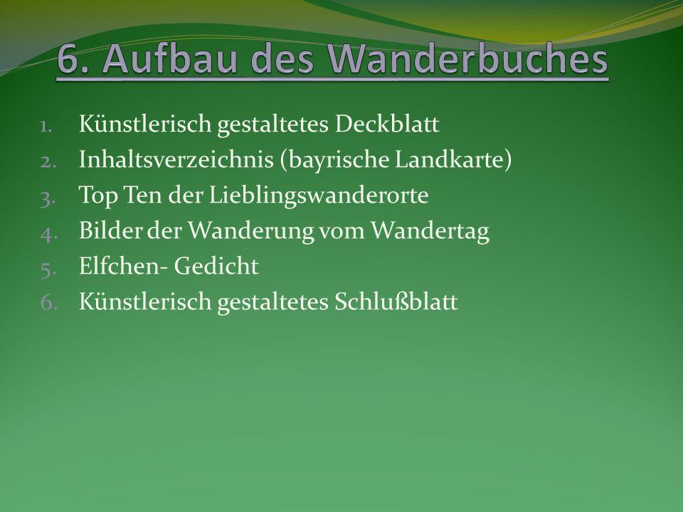 1. Künstlerisch gestaltetes Deckblatt 2. Inhaltsverzeichnis (bayrische Landkarte) 3. Top Ten der Lieblingswanderorte 4. Bilder der Wanderung vom Wande