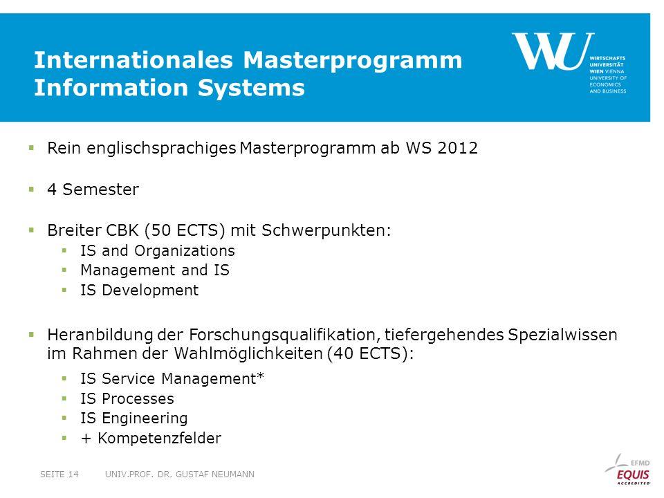 Internationales Masterprogramm Information Systems UNIV.PROF.