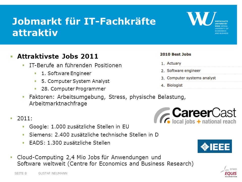Jobmarkt für IT-Fachkräfte attraktiv GUSTAF NEUMANNSEITE 8 Attraktivste Jobs 2011 IT-Berufe an führenden Positionen 1. Software Engineer 5. Computer S