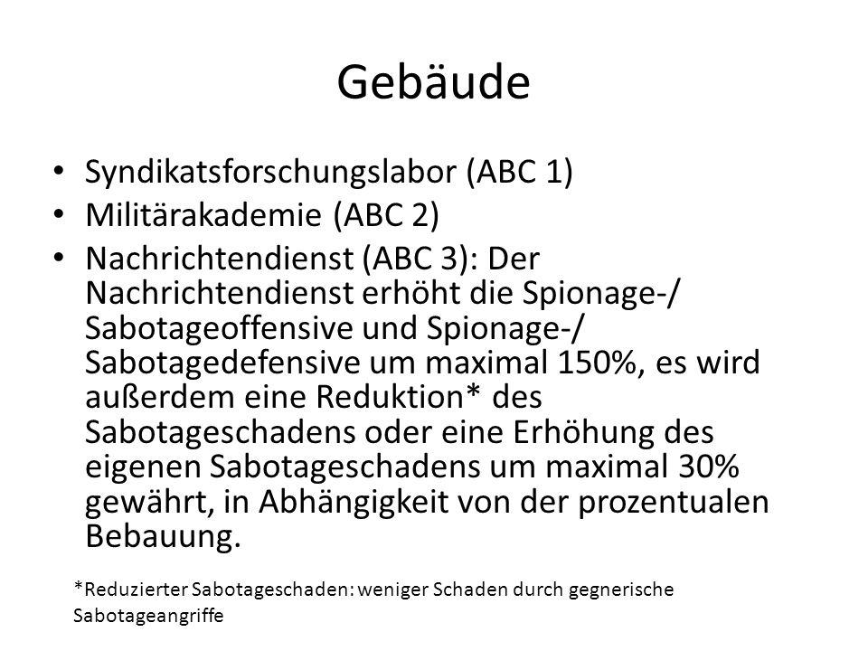 Gebäude Syndikatsforschungslabor (ABC 1) Militärakademie (ABC 2) Nachrichtendienst (ABC 3): Der Nachrichtendienst erhöht die Spionage-/ Sabotageoffens