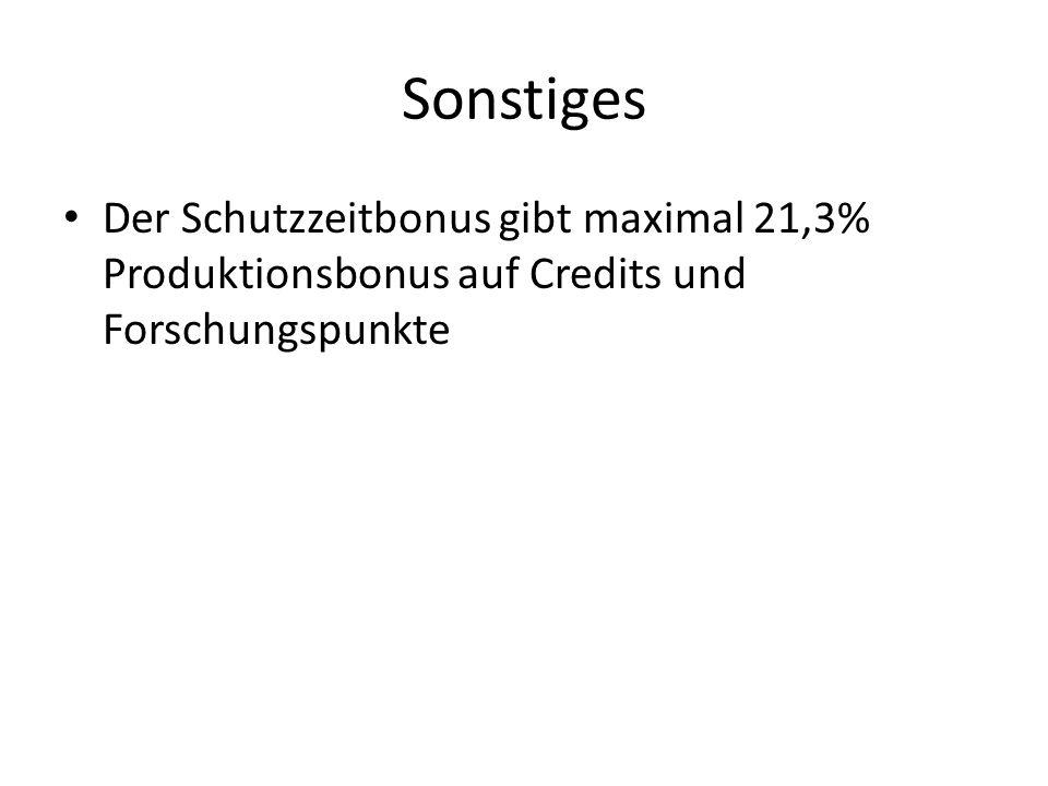 Sonstiges Der Schutzzeitbonus gibt maximal 21,3% Produktionsbonus auf Credits und Forschungspunkte