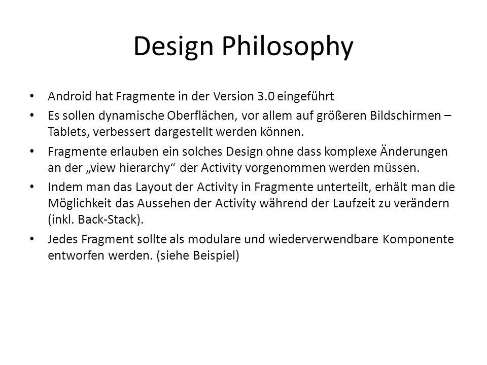 Design Philosophy Hier sieht man zwei unabhängig voneinander entworfene Fragmente: A und B.