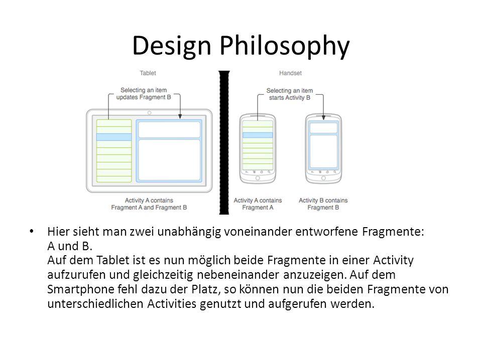Design Philosophy Hier sieht man zwei unabhängig voneinander entworfene Fragmente: A und B. Auf dem Tablet ist es nun möglich beide Fragmente in einer