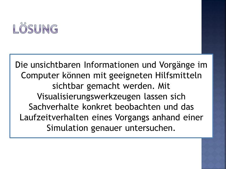 Die unsichtbaren Informationen und Vorgänge im Computer können mit geeigneten Hilfsmitteln sichtbar gemacht werden. Mit Visualisierungswerkzeugen lass