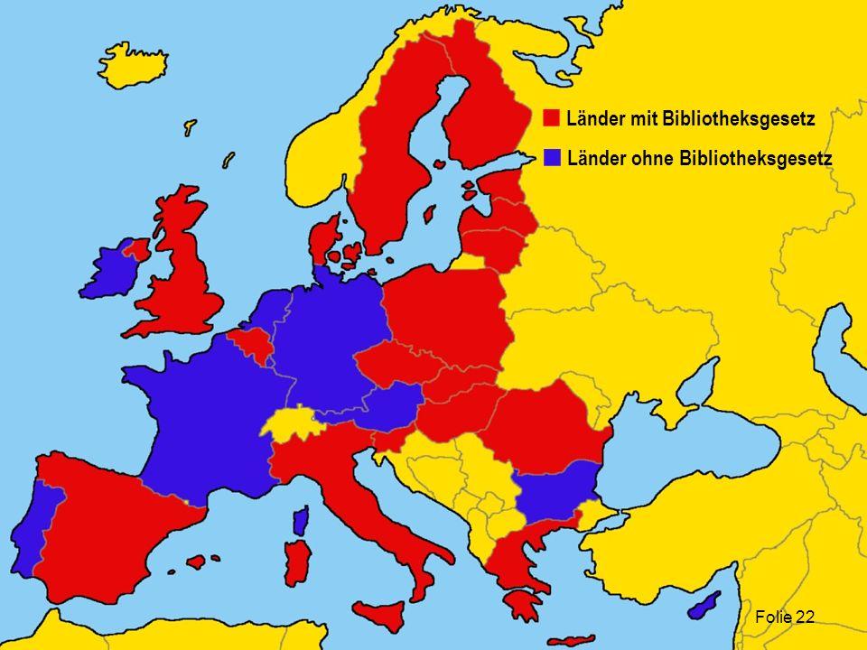 Folie 22 Länder ohne Bibliotheksgesetz Länder mit Bibliotheksgesetz