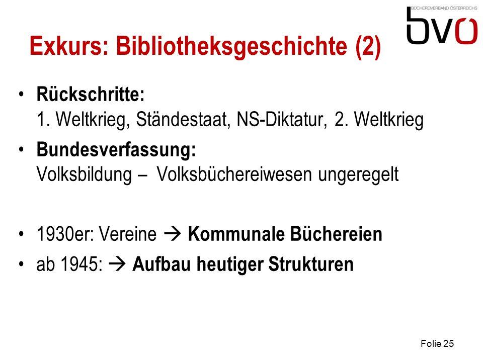 Exkurs: Bibliotheksgeschichte (2) Rückschritte: 1.