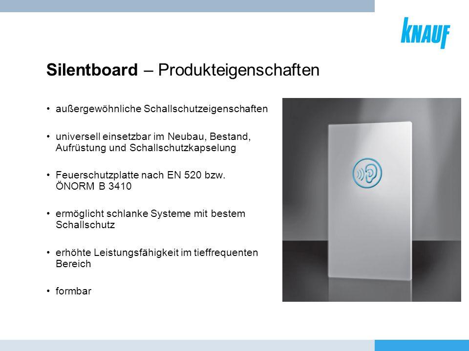 Silentboard – Produkteigenschaften außergewöhnliche Schallschutzeigenschaften universell einsetzbar im Neubau, Bestand, Aufrüstung und Schallschutzkap
