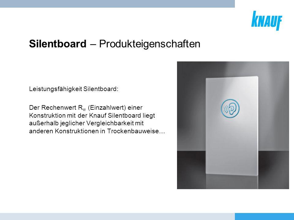 Silentboard – Produkteigenschaften Leistungsfähigkeit Silentboard: Der Rechenwert R w (Einzahlwert) einer Konstruktion mit der Knauf Silentboard liegt
