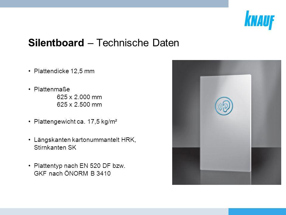 Silentboard – Technische Daten Plattendicke 12,5 mm Plattenmaße 625 x 2.000 mm 625 x 2.500 mm Plattengewicht ca. 17,5 kg/m² Längskanten kartonummantel