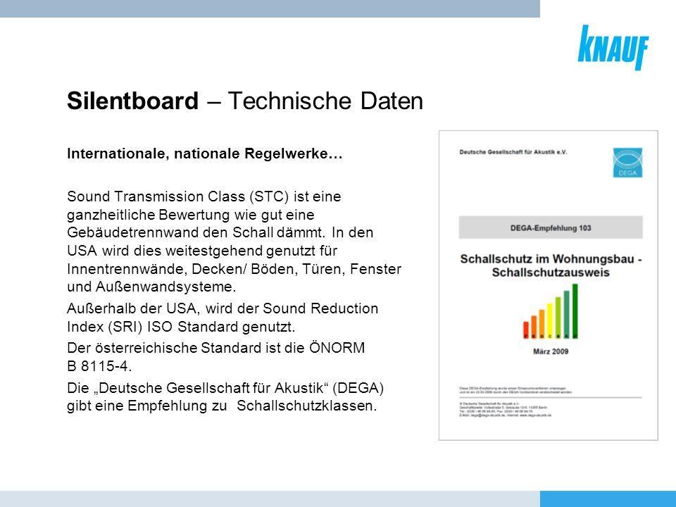 Silentboard – Technische Daten Internationale, nationale Regelwerke… Sound Transmission Class (STC) ist eine ganzheitliche Bewertung wie gut eine Gebä