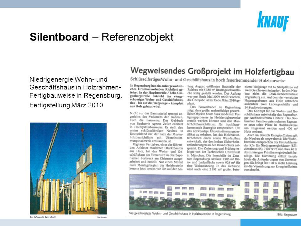 Silentboard – Referenzobjekt Niedrigenergie Wohn- und Geschäftshaus in Holzrahmen- Fertigbauweise in Regensburg, Fertigstellung März 2010