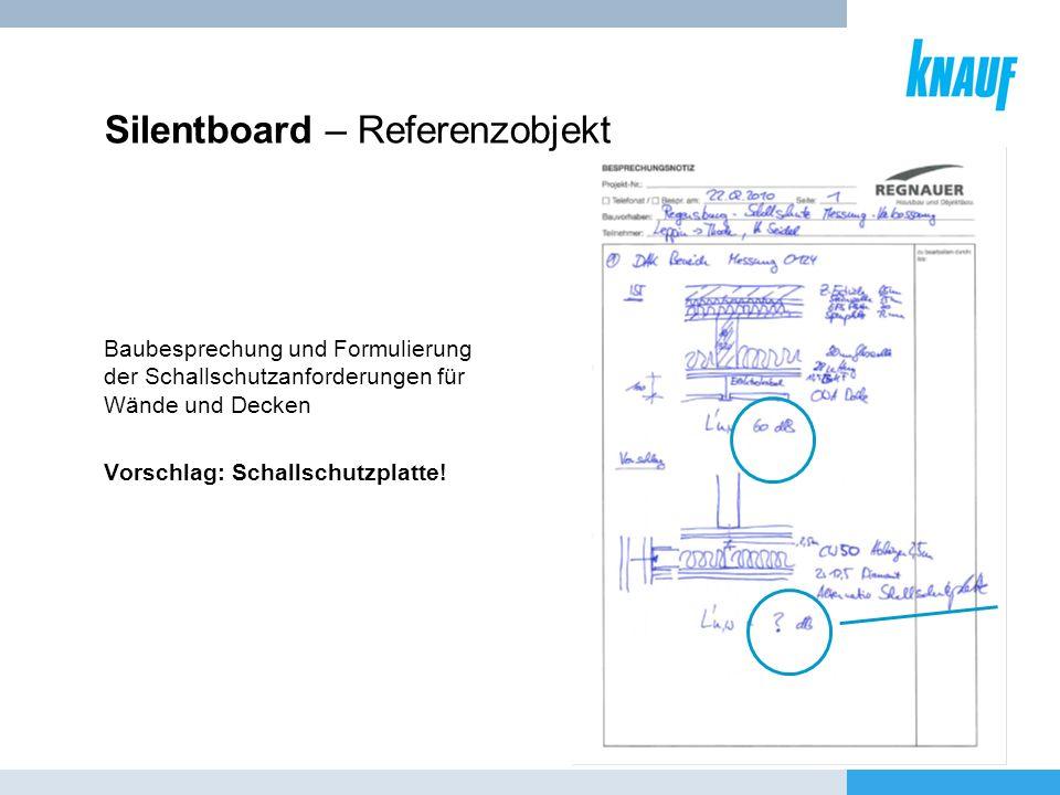 Silentboard – Referenzobjekt Baubesprechung und Formulierung der Schallschutzanforderungen für Wände und Decken Vorschlag: Schallschutzplatte!