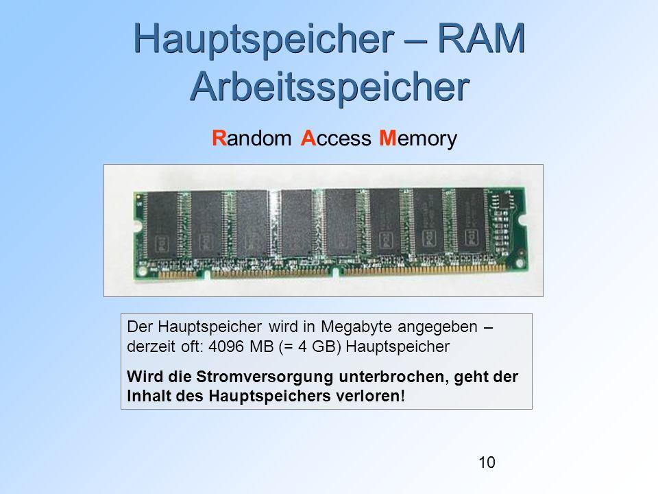 10 Hauptspeicher – RAM Arbeitsspeicher Random Access Memory Der Hauptspeicher wird in Megabyte angegeben – derzeit oft: 4096 MB (= 4 GB) Hauptspeicher Wird die Stromversorgung unterbrochen, geht der Inhalt des Hauptspeichers verloren!