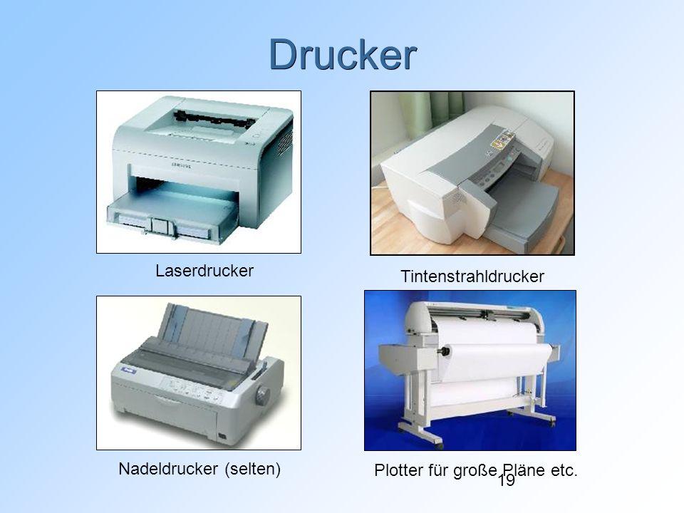 19 Drucker Laserdrucker Tintenstrahldrucker Nadeldrucker (selten)Plotter für große Pläne etc.