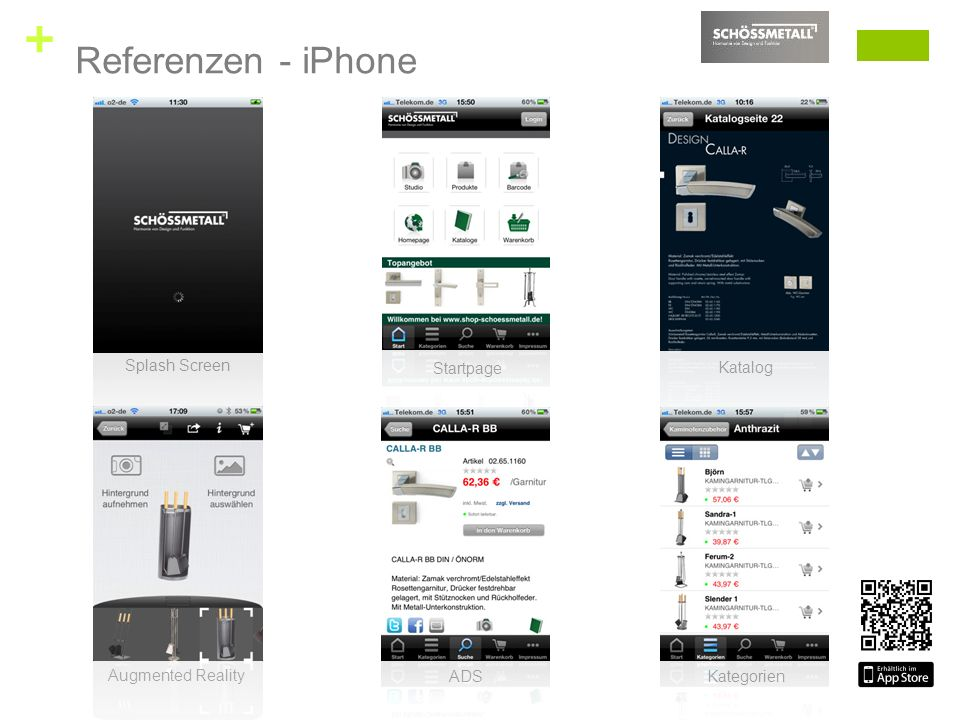 + Splash Screen Startpage Katalog Augmented Reality ADS Kategorien Referenzen - iPhone