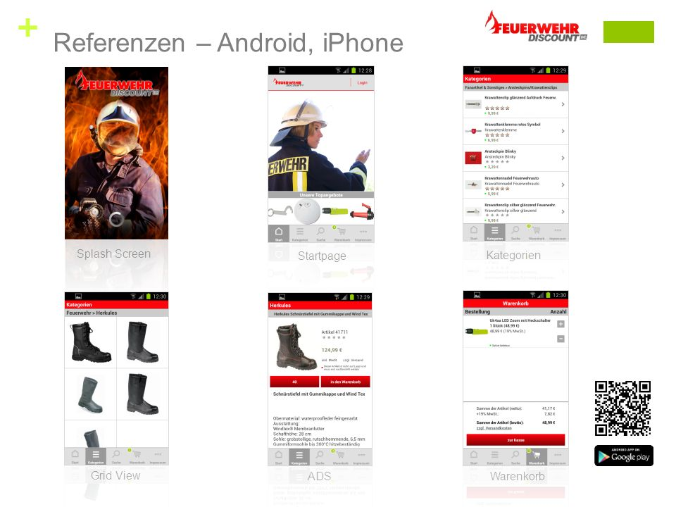 + Splash Screen Startpage Kategorien Grid View ADS Warenkorb Referenzen – Android, iPhone
