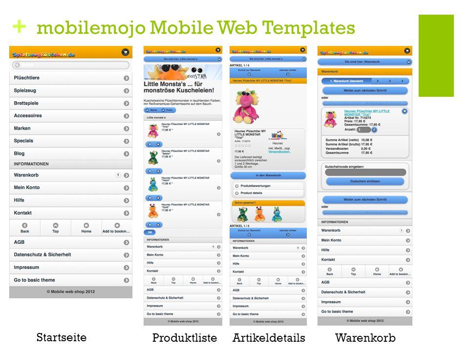 + mobilemojo Mobile Web Templates Produktliste Startseite ArtikeldetailsWarenkorb