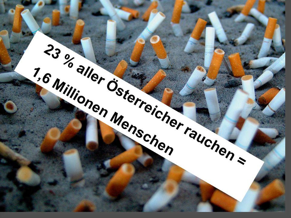 (c) 4C- Klasse 23 % aller Österreicher rauchen = 1,6 Millionen Menschen
