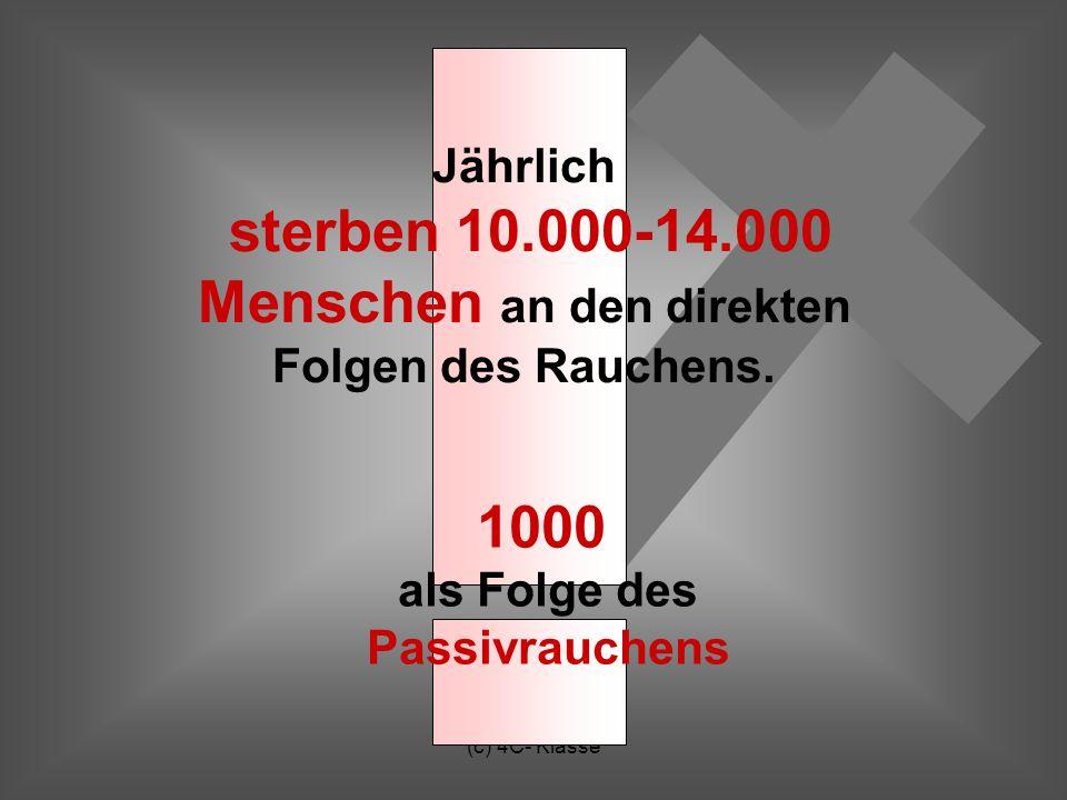 (c) 4C- Klasse Jährlich sterben 10.000-14.000 Menschen an den direkten Folgen des Rauchens.
