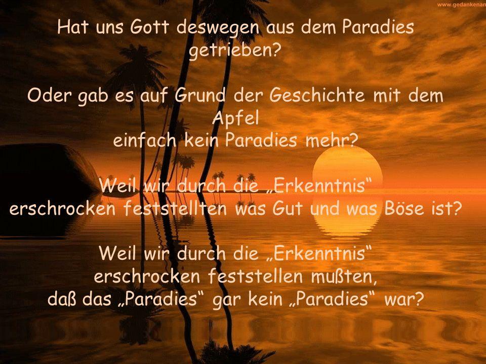 Hat uns Gott deswegen aus dem Paradies getrieben? Oder gab es auf Grund der Geschichte mit dem Apfel einfach kein Paradies mehr? Weil wir durch die Er