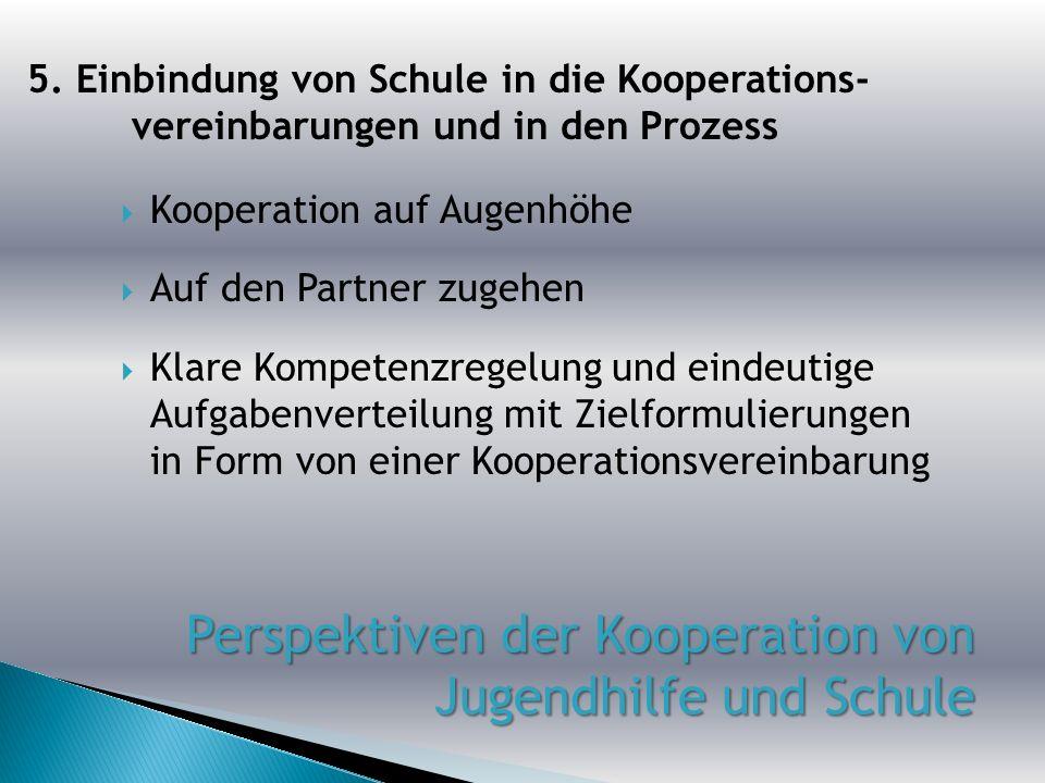 Kooperation auf Augenhöhe Auf den Partner zugehen Klare Kompetenzregelung und eindeutige Aufgabenverteilung mit Zielformulierungen in Form von einer K