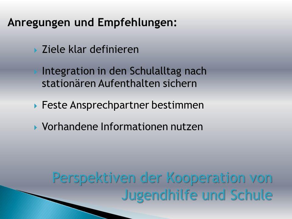 Ziele klar definieren Integration in den Schulalltag nach stationären Aufenthalten sichern Feste Ansprechpartner bestimmen Vorhandene Informationen nu