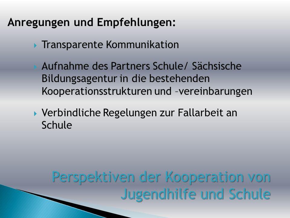 Transparente Kommunikation Aufnahme des Partners Schule/ Sächsische Bildungsagentur in die bestehenden Kooperationsstrukturen und –vereinbarungen Verb