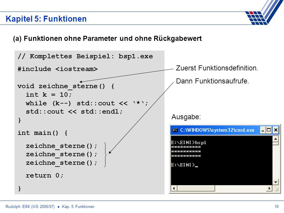 Rudolph: EINI (WS 2006/07) Kap. 5: Funktionen10 Kapitel 5: Funktionen (a) Funktionen ohne Parameter und ohne Rückgabewert // Komplettes Beispiel: bsp1