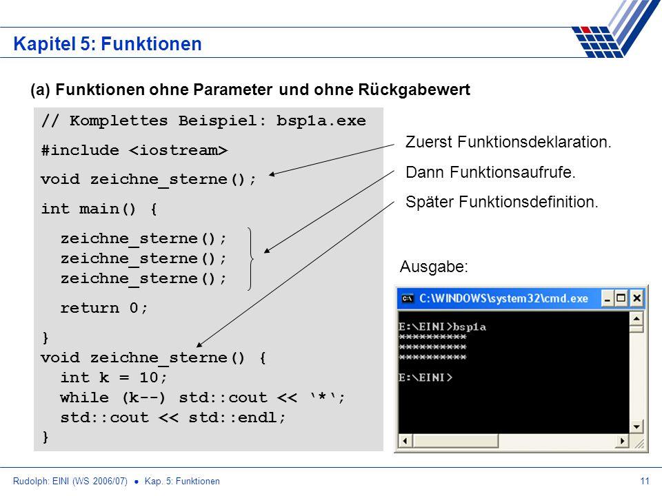 Rudolph: EINI (WS 2006/07) Kap. 5: Funktionen11 Kapitel 5: Funktionen (a) Funktionen ohne Parameter und ohne Rückgabewert // Komplettes Beispiel: bsp1
