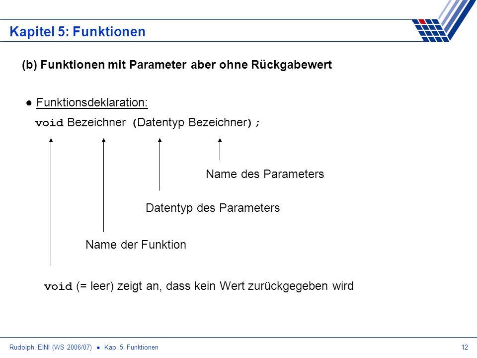 Rudolph: EINI (WS 2006/07) Kap. 5: Funktionen12 Kapitel 5: Funktionen (b) Funktionen mit Parameter aber ohne Rückgabewert Funktionsdeklaration: void B