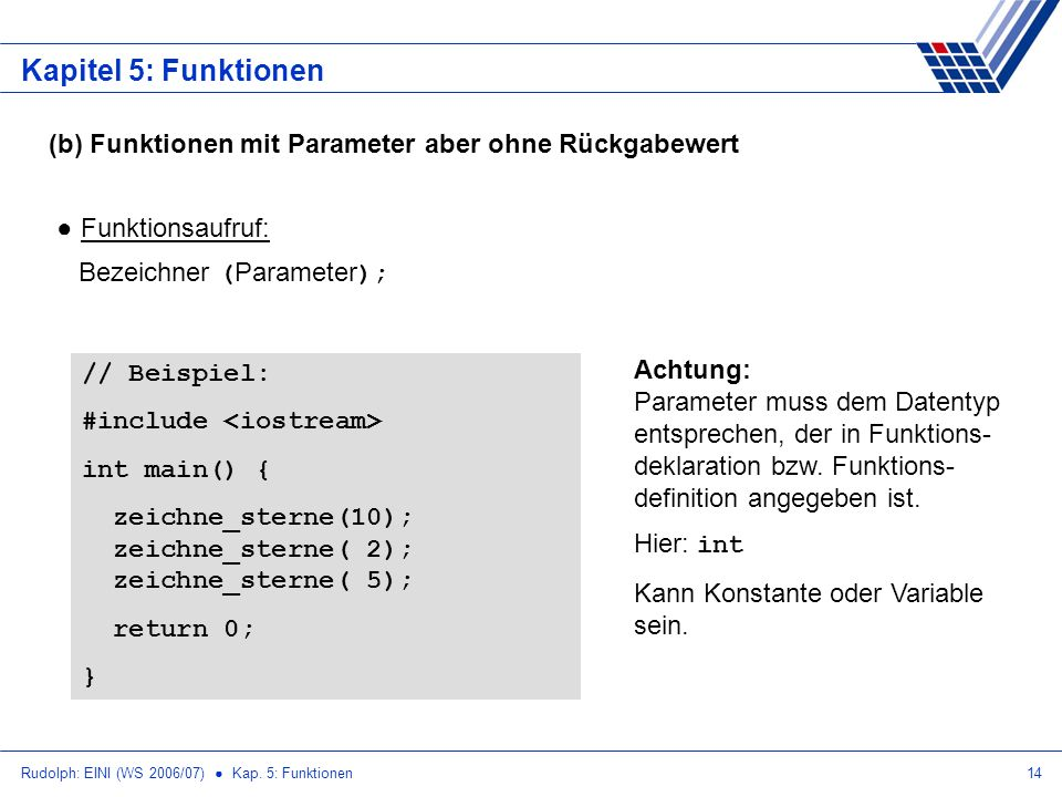 Rudolph: EINI (WS 2006/07) Kap. 5: Funktionen14 Kapitel 5: Funktionen (b) Funktionen mit Parameter aber ohne Rückgabewert Funktionsaufruf: Bezeichner