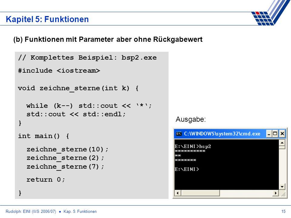 Rudolph: EINI (WS 2006/07) Kap. 5: Funktionen15 Kapitel 5: Funktionen (b) Funktionen mit Parameter aber ohne Rückgabewert // Komplettes Beispiel: bsp2