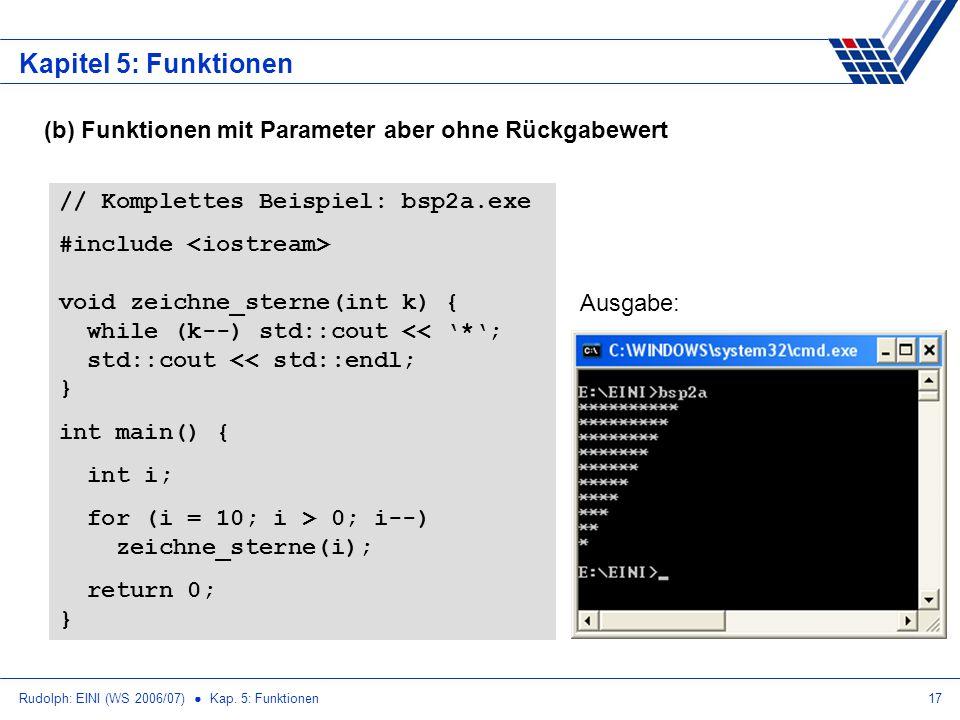 Rudolph: EINI (WS 2006/07) Kap. 5: Funktionen17 Kapitel 5: Funktionen (b) Funktionen mit Parameter aber ohne Rückgabewert // Komplettes Beispiel: bsp2