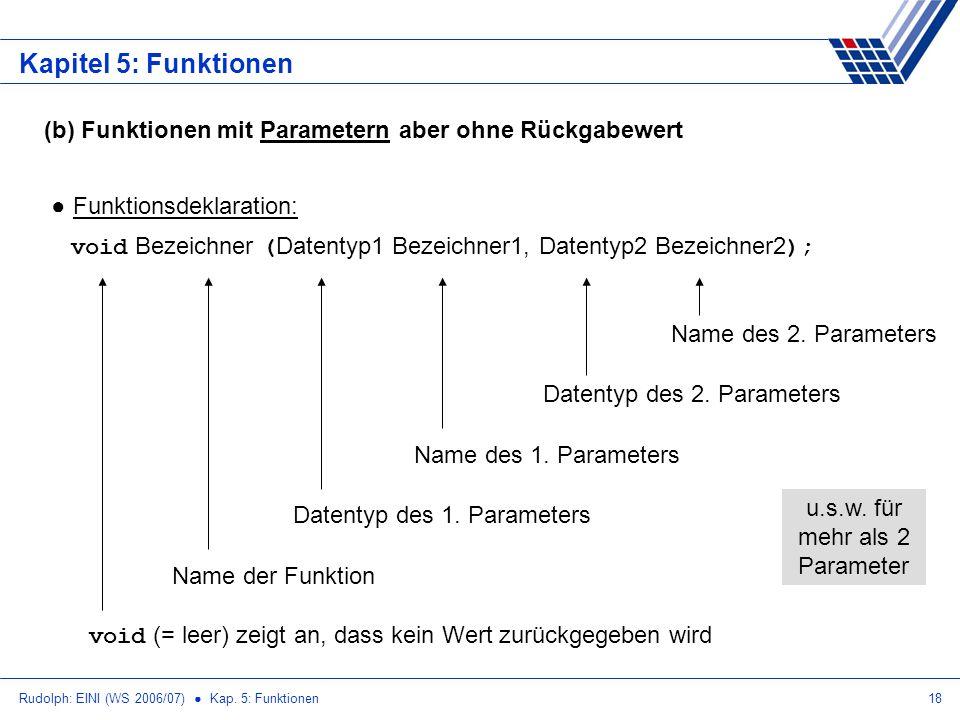 Rudolph: EINI (WS 2006/07) Kap. 5: Funktionen18 Kapitel 5: Funktionen (b) Funktionen mit Parametern aber ohne Rückgabewert Funktionsdeklaration: void