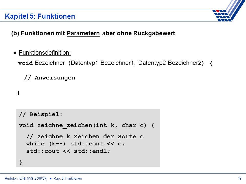 Rudolph: EINI (WS 2006/07) Kap. 5: Funktionen19 Kapitel 5: Funktionen (b) Funktionen mit Parametern aber ohne Rückgabewert Funktionsdefinition: void B