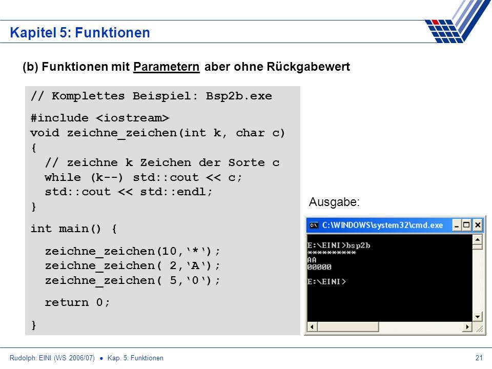 Rudolph: EINI (WS 2006/07) Kap. 5: Funktionen21 Kapitel 5: Funktionen (b) Funktionen mit Parametern aber ohne Rückgabewert // Komplettes Beispiel: Bsp