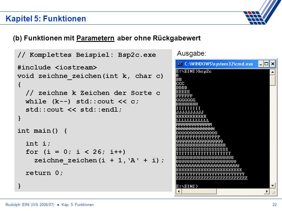 Rudolph: EINI (WS 2006/07) Kap. 5: Funktionen22 Kapitel 5: Funktionen (b) Funktionen mit Parametern aber ohne Rückgabewert // Komplettes Beispiel: Bsp