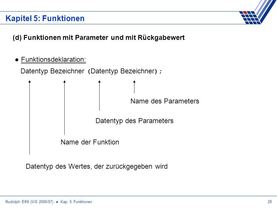 Rudolph: EINI (WS 2006/07) Kap. 5: Funktionen28 Kapitel 5: Funktionen (d) Funktionen mit Parameter und mit Rückgabewert Funktionsdeklaration: Datentyp